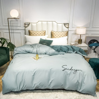 Cotton Duvet Cover High end embroidered Solid Comforter Cover Single Double Bed Hotel Home Bedding article Quilt Cover 1pc|Duvet Cover| |  -
