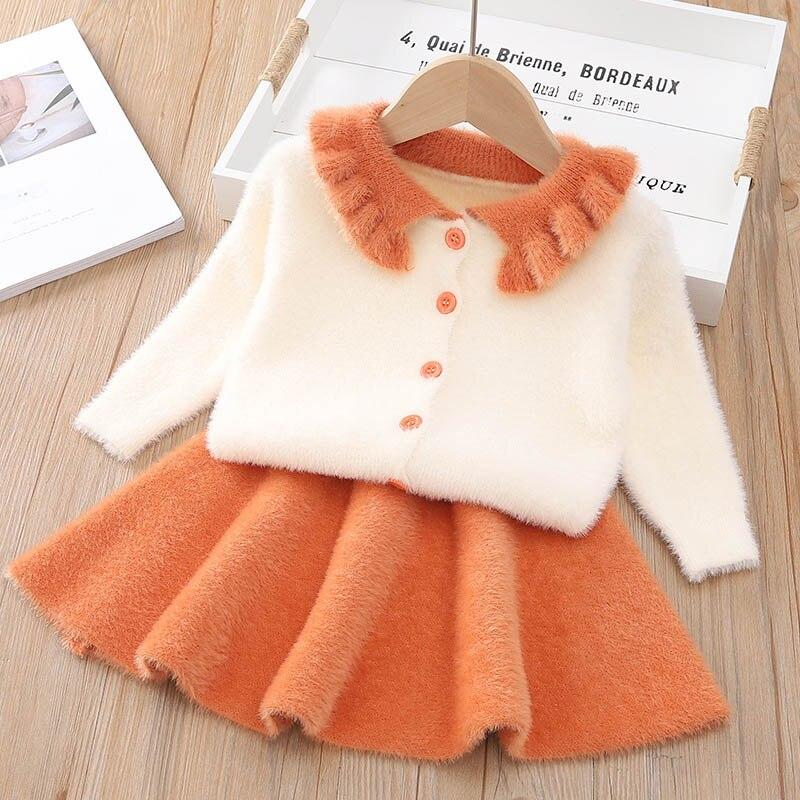 Autumn Winter Plaid print Sweater Dress Set Casual Girls Clothing Sets Girls Clothes Suit Children Clothes Kids Clothing Sets 10