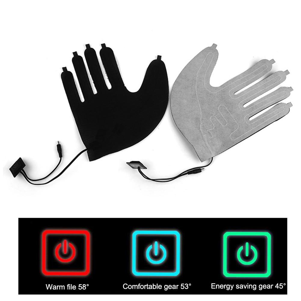 1Pair Five-finger Gloves USB Electric Heating Pads Lithium Battery Power Supply Three-speed Thermostat Switch Heating Sheet