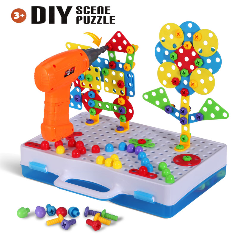 Kids Drill Puzzle Toys 193PCS Plastic Screw Group Toy DIY Disassembly Puzzle Mosaic Pegboard Creative Educational Toys Boys Gift
