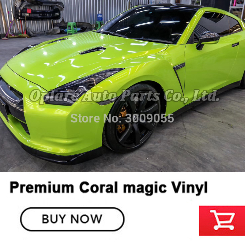 High end glossy  fluorescence Acid lime Wrapping Film Vinyl Wraps film Car wrapping air Release best low initial tack adhesive|Car Stickers| |  - title=
