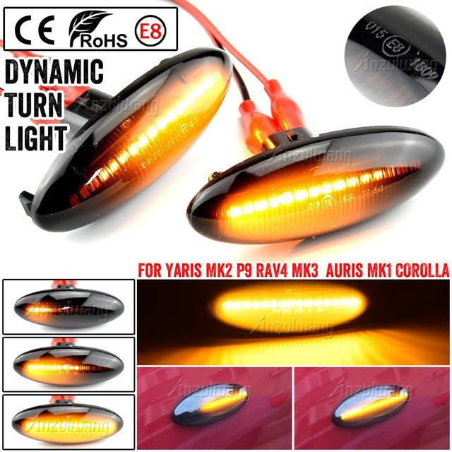 A Pair LED Car Dynamic Side Marker Signal Lamp Turn Signal Light Blinker Light For Toyota Yaris COROLLA Auris Mk1 E15 RAV4 Mk3