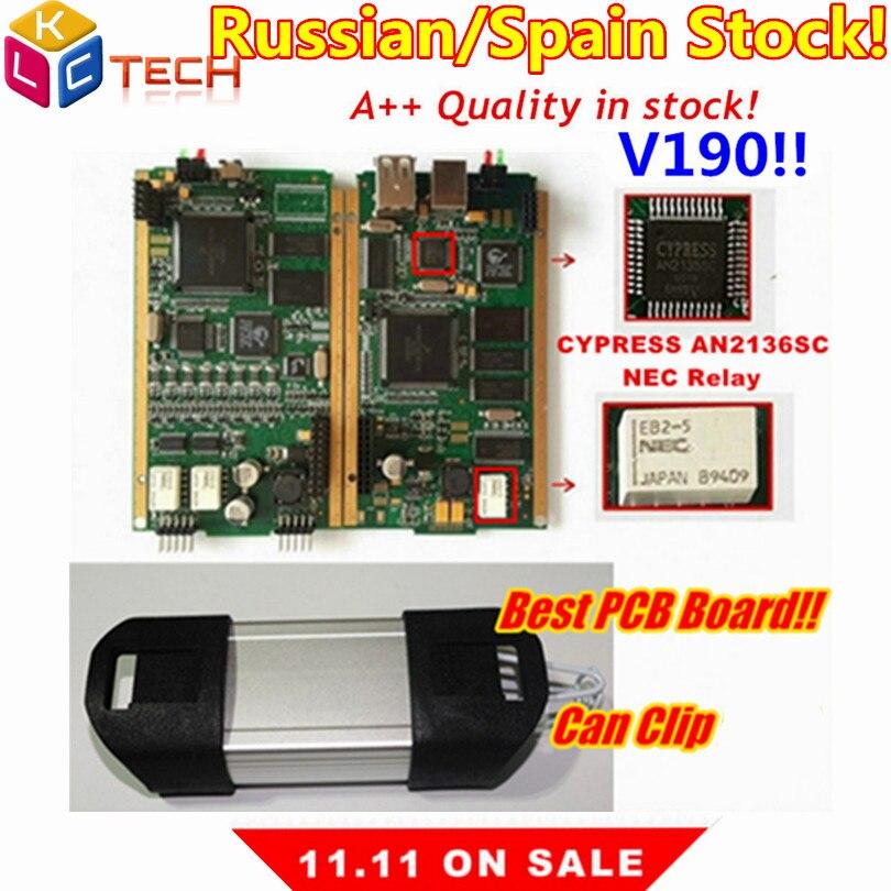 Russion estoque!! melhor placa pcb lateral ouro pode clipe v190 com cypress an2135sc/2136sc chip a + obd2 ferramenta de scanner diagnóstico