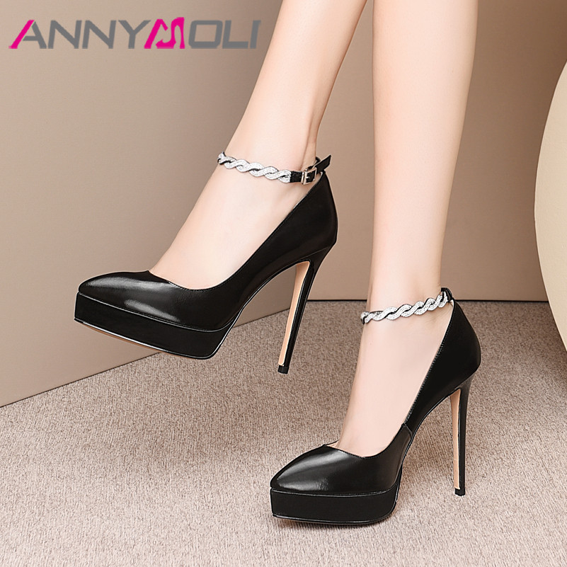 ANNYMOLI Women Shoes High Heels Natural Genuine Leather Crystal Thin High Heel Ankle Strap Shoes Buckle Pointed Toe Pumps Ladies