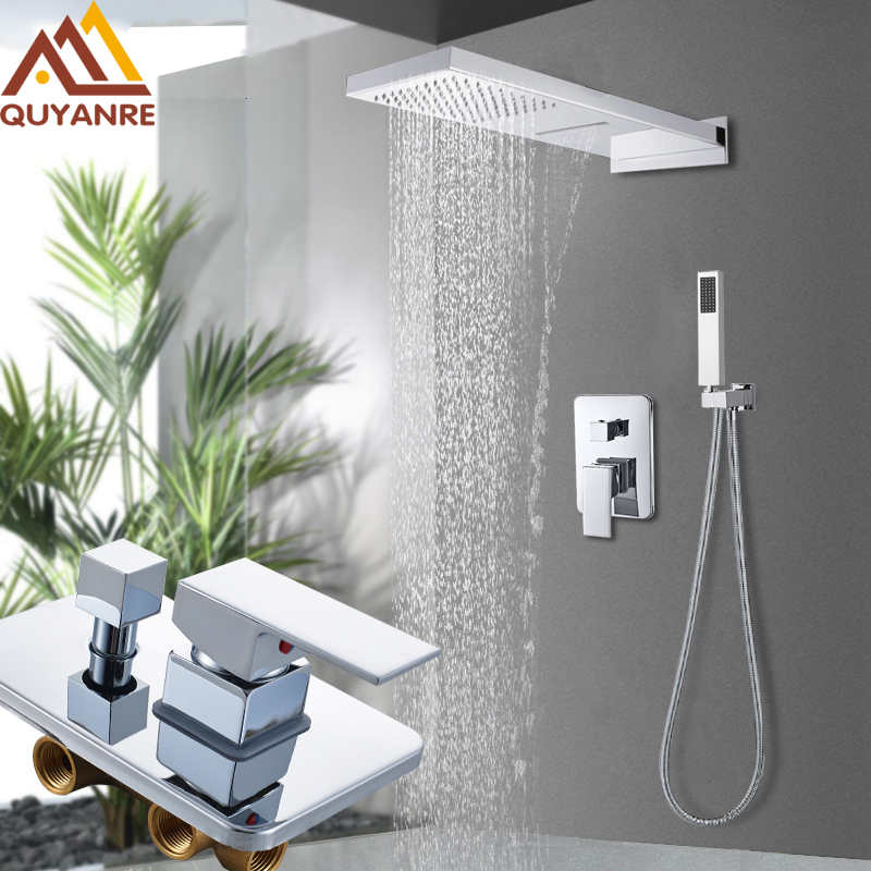 Shower Faucets Wall Mount 3 Function Chrome Bath Shower Faucet Set Waterfall Rainfall Shower Head Handshower Mixer Tap Bath