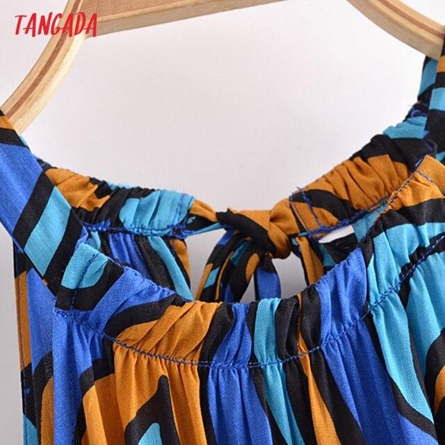 Tangada Fashion Women Leaf Print Summer Tank Dress 2021 New Arrival Sleeveless Ladies Midi Sundress With Slash  QN114 2