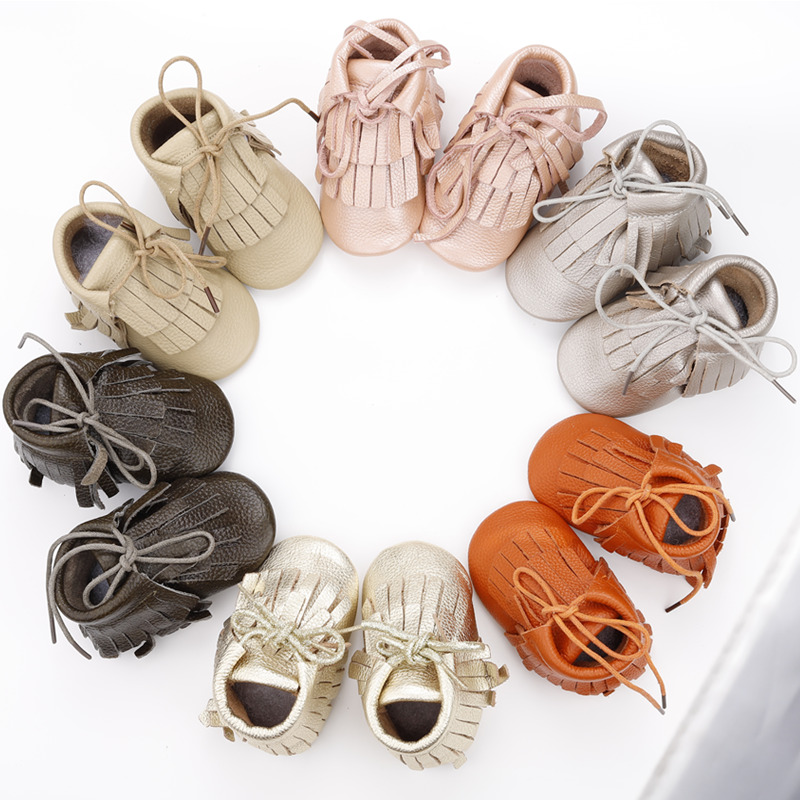 [simfamily]Skid-Proof Baby Boots Soft Genuine Leather Baby Boys Girls Infant Boots Solid Fringe Shoes First Walkers