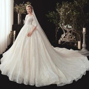 Image 2 - חדש מגיע שלושה רבעון שרוול ואגלי אפליקציות תחרה נסיכת כדור שמלת חתונת שמלות בתוספת גודל  סין חלוק Mariee