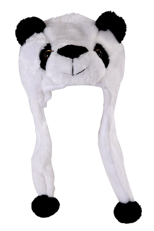 Childrens Animal Hat With Scarf Faux Fur Kids Winter Hat Cool Gift - Panda