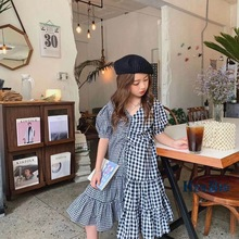 Girls' summer Chic French Platycodon skirt small fresh Ruffle Plaid medium length V-neck dress