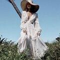 Elegante laço branco retalhos plissado vestido longo 2019 feminino verão boêmio babados chiffon maxi vestido designer vestido de pista