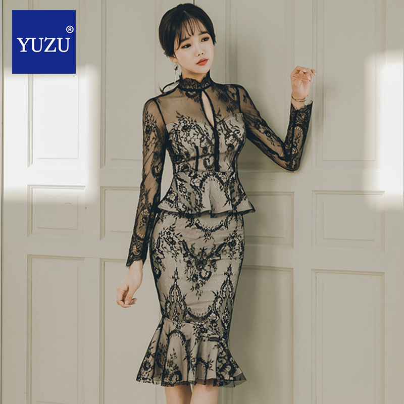 Korean Sexy Black Hollow Out Lace Mermaid Dress Elegant Long Sleeve Ruffle Office Evening Party Patchwork Midi Spring Dresses