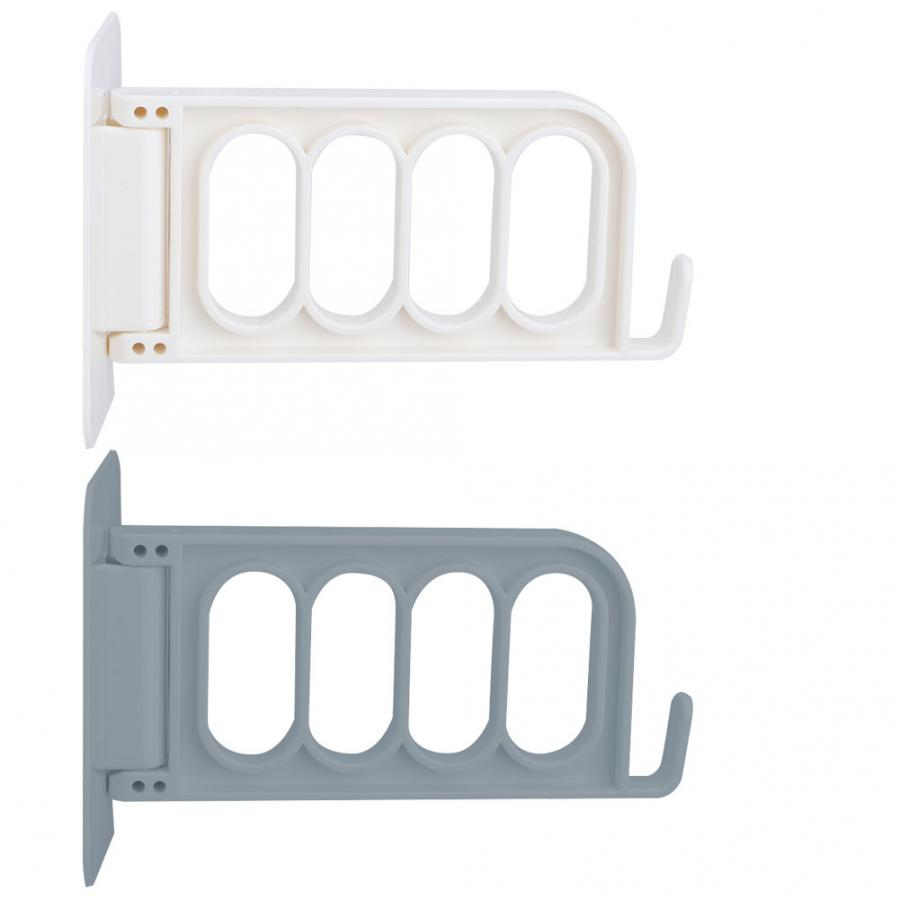 MLMLH Wall Clothes Rack-4Hole Clothes Hanger Wall Mounted Clothes Dryer Punch-free Adhesive Foldable Laundry Rack Grey