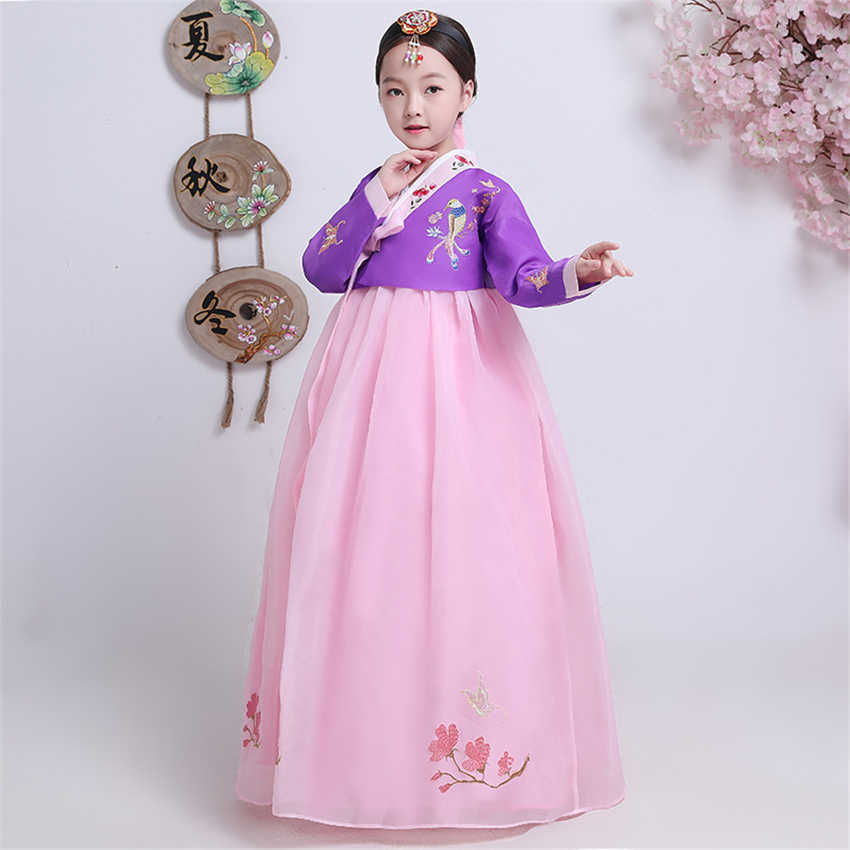 New Girls Traditional Korean Hanbok Dress Dance Costumes Stage Performance Clothing Korea Fashion Style Festival Outfit for Kids