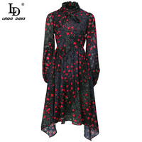 LD LINDA DELLA Fashion Runway Dress Women Autumn Elegant Vintage Flowers Polka Dot print Asymmetrical Midi Dresses Vestidos