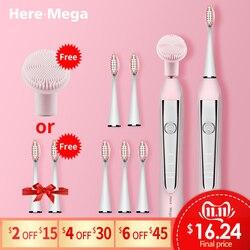 HERE-MEGA sonic escova de dentes elétrica usb recarregável substituível limpeza cabeça da escova atualizado ultra sonic branqueamento dentes adulto