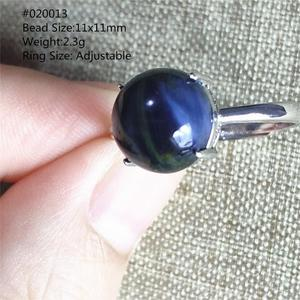 Image 3 - Genuine Natural Blue Pietersite Gemstone Chatoyant Adjustable Round Ring 11x11mm From Namibia 925 Silver Women Men AAAAA