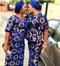 Velluto tessuto africano del merletto con paillettes nigeriano tessuto di pizzo di velluto (5yards/pc) di alta qualità per il vestito da partito di lusso del merletto del velluto