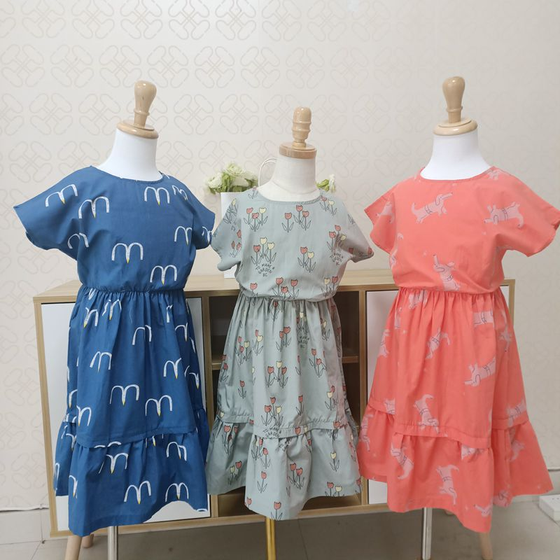 Lashojas Kids <font><b>Dresses</b></font> <font><b>Girls</b></font> 2019 New Fashion Cotton Flower <font><b>Shirt</b></font> Short Summer <font><b>T</b></font>-<font><b>shirt</b></font> Vest Big For Maotou Beach Party <font><b>Dress</b></font> image