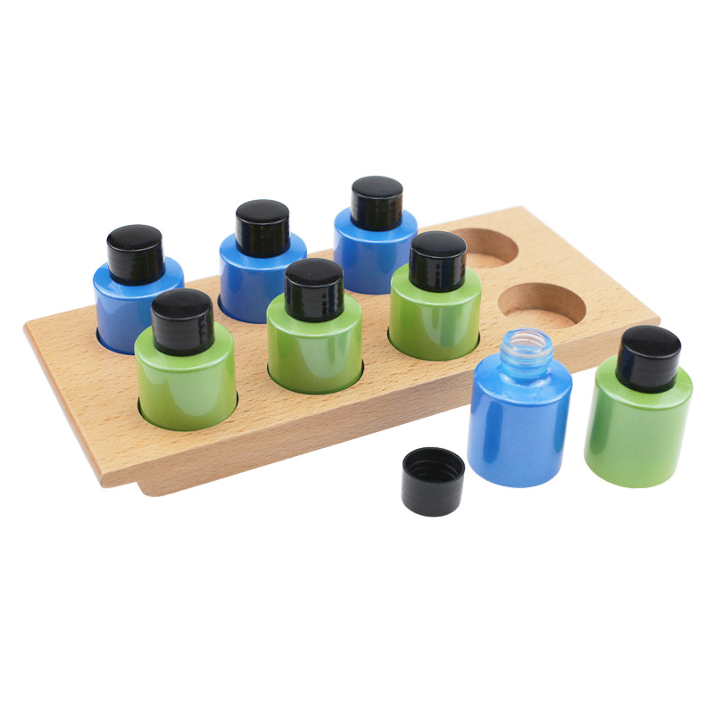 Baby Montessori Smelling Jars Toys 2 Sets Empty Opaque Jars With Beech Wood Board Toys For Children Smells Training Educational