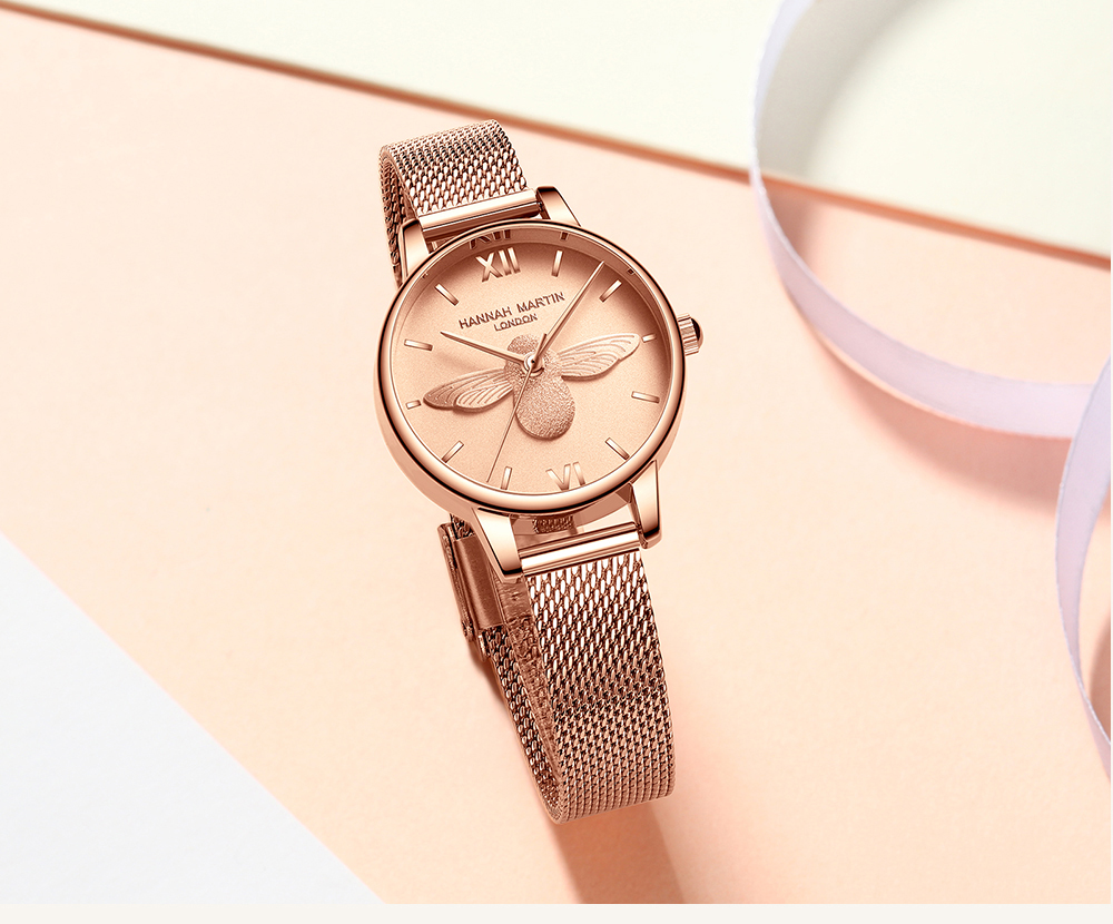 Rose Gold Bee Personality Design Ladies Watch 13