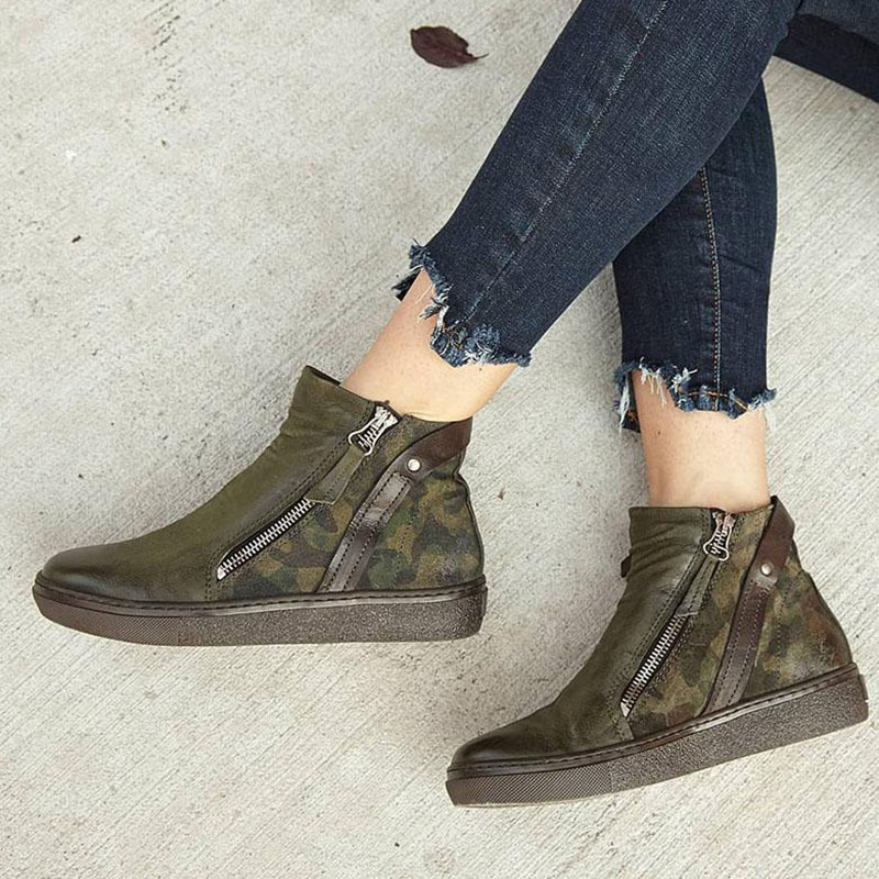 2019 Autumn New Boots Women Camouflage Leather Boots Female Martin Boots Round Toe Western Ankle British Style zapatos de mujer in Ankle Boots from Shoes