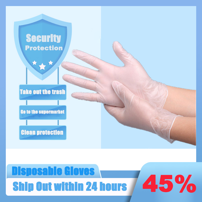 100PCS Disposable Gloves Medical Grade Gloves Disposable Food PVC Anti-Static Gloves Household Cleaning