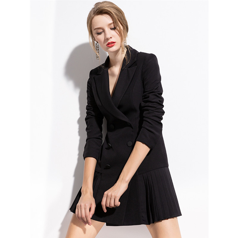 European Fashion Casual small suit Jacket female 2019 New Oumeifeng Women's spring and autumn black mid-long suit