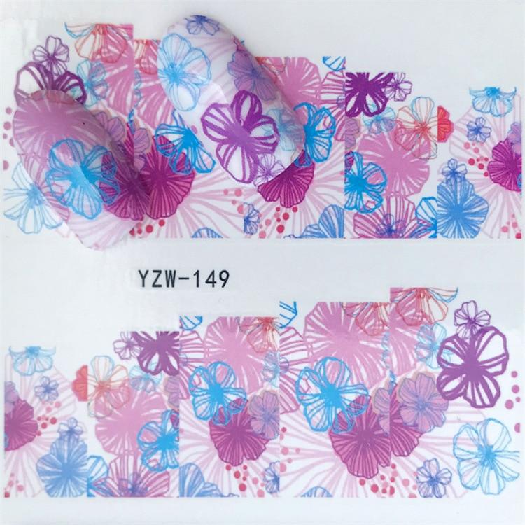 Cross Border For Nail Sticker YZW149 Semi-Permeable Flower Nail Sticker Environmentally Friendly Breathable Nail Sticker Current
