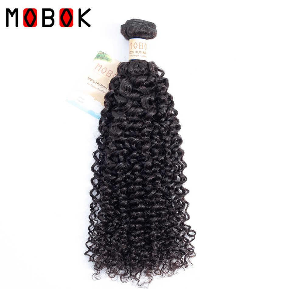 MOBOK Pelo Rizado de Mongolia tejido 3 mechones con cierre cabello humano tejido con 4*4 Cierre de encaje Top Remy Mongolisan pelo