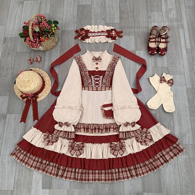 Фото японское винтажное платье лолиты с бантом и подставкой каваи цена