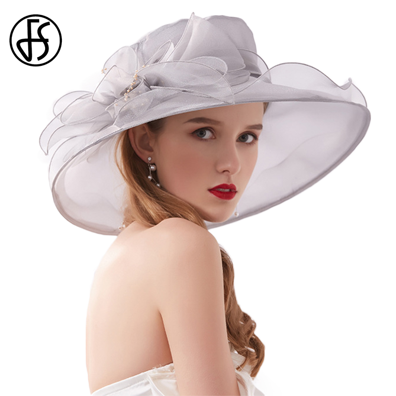 FS 2020 Summer Breathable Tea Party Hats For Women Ladies Wide Brim Organza Gray Purple Fascinator Church Hat With Mesh Flower