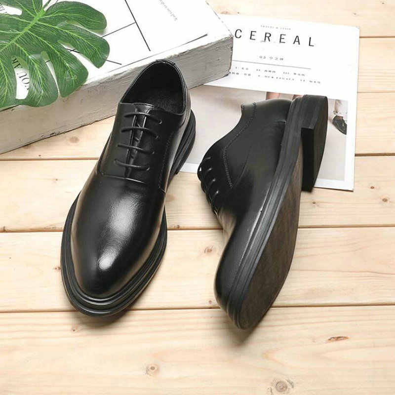 Oxfords-chaussures pointues pour hommes, chaussures de mariage, pour bureau, noires et brunes, collection à lacets