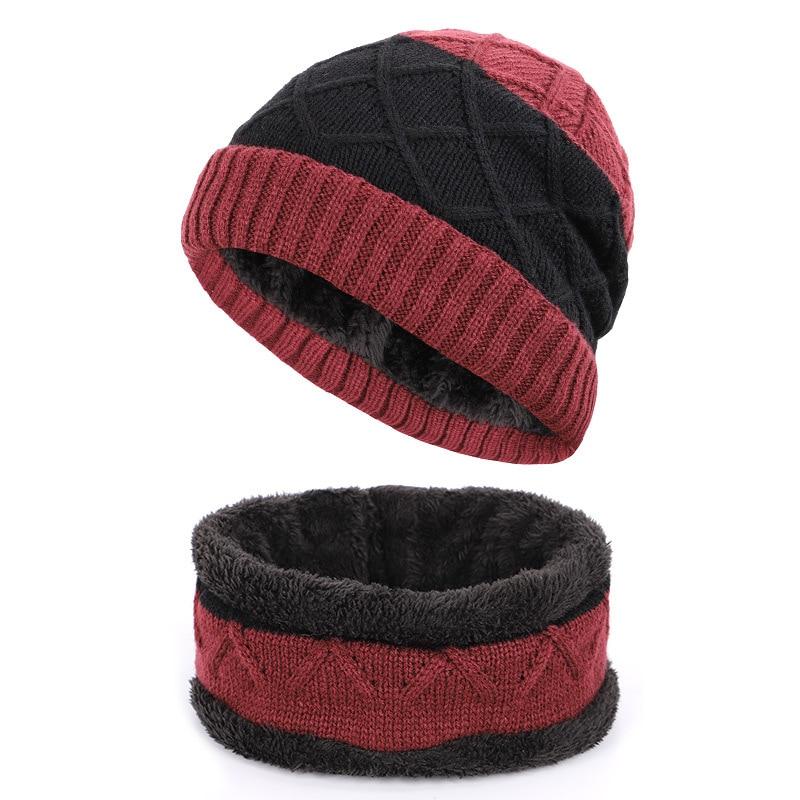 Men Hat Scarf Set Winter Knit Beanie Warm Fleece Acrylic Outdoor Accessory Skiing Snow Headwear