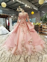 BGW 2020 Pink Special Dubai Puffy Party Dresses High Neck Long Tulle Sleeve Lace Up Back Evening Dresses Muslim Styles