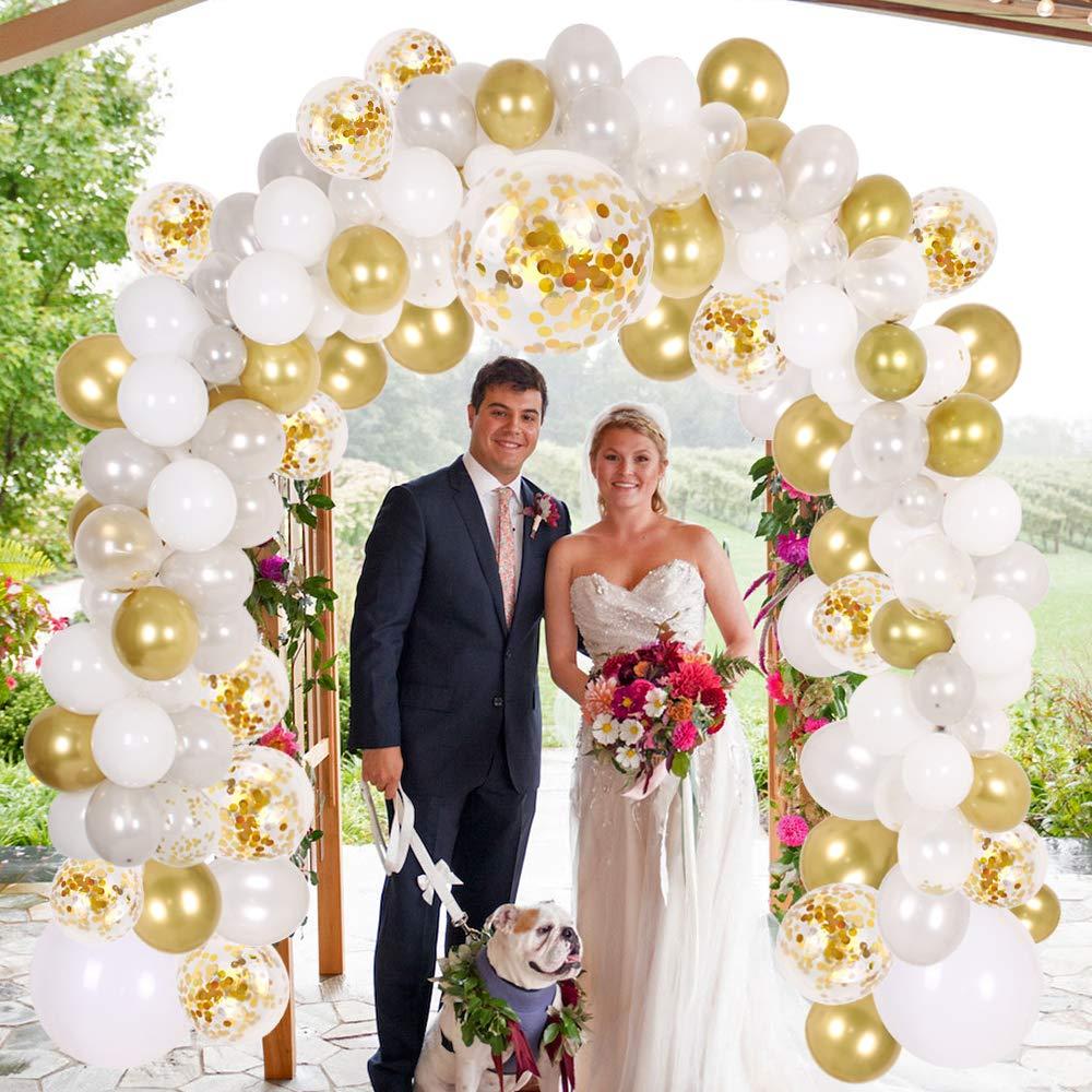 Confettis en or et Argent et Blanc et Transparent Ballons pour Bébé Douche 138 pièces Ballons De Fête Décoration Ensemble