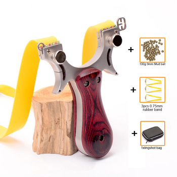 Slingshot Catapult Hunting High Quality Stainless Steel with Rubber Band + Mud Ball Outdoor Shooting Game Sling Shot Set 2