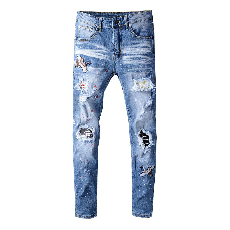 Sokotoo Men's Bird Embroidered Painted Ripped Jeans Streetwear Holes Patchwork Stretch Denim Pants
