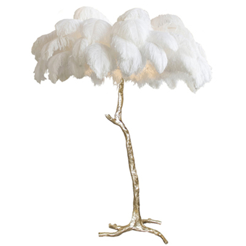 Nordic Modern luxury full copper ostrich Floor Lamp bedroom princess Table Light Romantic tree branch living room feather lamp