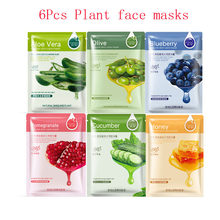 6pcs ROREC Plants Essence Facemask Facial Skin Care Moisturizing Whitening Oil Control Korea Face Mask Especially for Dry Skin rorec skin care essential oil face serum body care hydra moisturizing facial olive oil essence whitening pigmentation corrector
