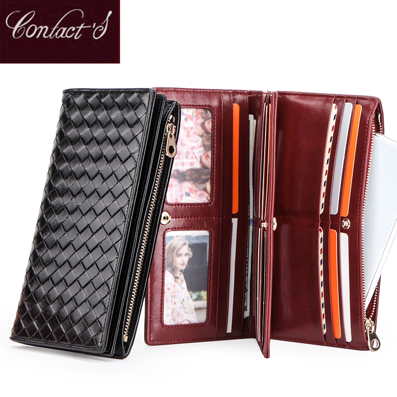Genuine Leather Women Wallet Ladies Clucth Portomonee Portfel Coin Purse Long Female Money Bag Card Phone Wallets Cartera Mujer