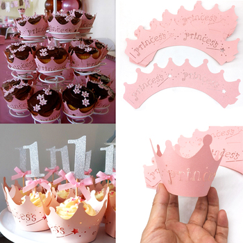 10pcs Pink Princess Crown Cupcake Wrappers Cases for Wedding Christening Baby Girl Birthday Shower Party Cake Decoration 1000pc girl hot pink white silk rose petals baby shower christening confetti wedding party table scatters confettis decoration