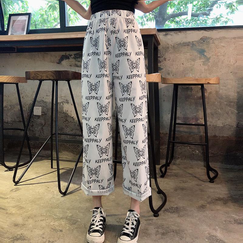 Ankle Length Pants Cute Graphic Butterfly Print Loose Straight White Pant Korean Women Harajuku Boho Trouser High Waist