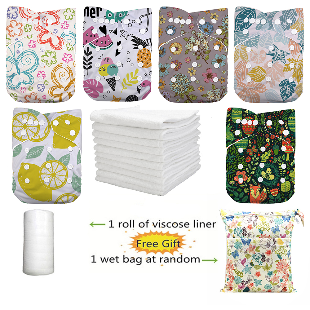 LilBit 6 pcs Pack Boy Girl Reusable Baby Cloth Diapers NappiesBaby Nappies   -