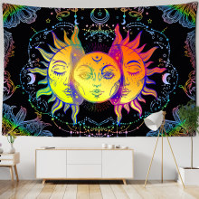 White Black Colorful Sun Moon Mandala Tapestry Wall Hanging Celestial Wall Tapestry Hippie Wall Carpets Dorm Decor Wall Tapestr