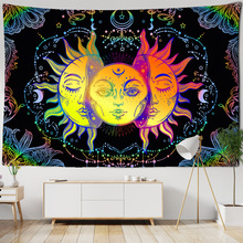 Mandala Tapestry Wall-Carpets Dorm-Decor Celestial Sun-Moon Colorful Black White