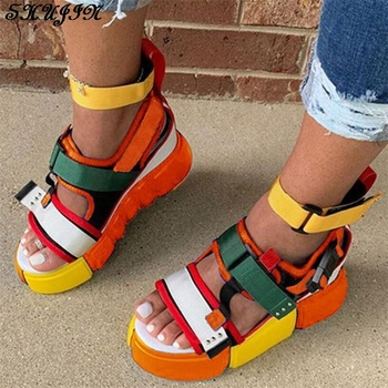 new fashion women shoes sandals luxury noble dress shoes party hot sale ankle high heel rhinestone cage vintage style gladiator 2020 New Ladies Platform Gladiator Sandals Hot sale Colorful Wedges Summer Sandals Women Party Wholesale Shoes Woman