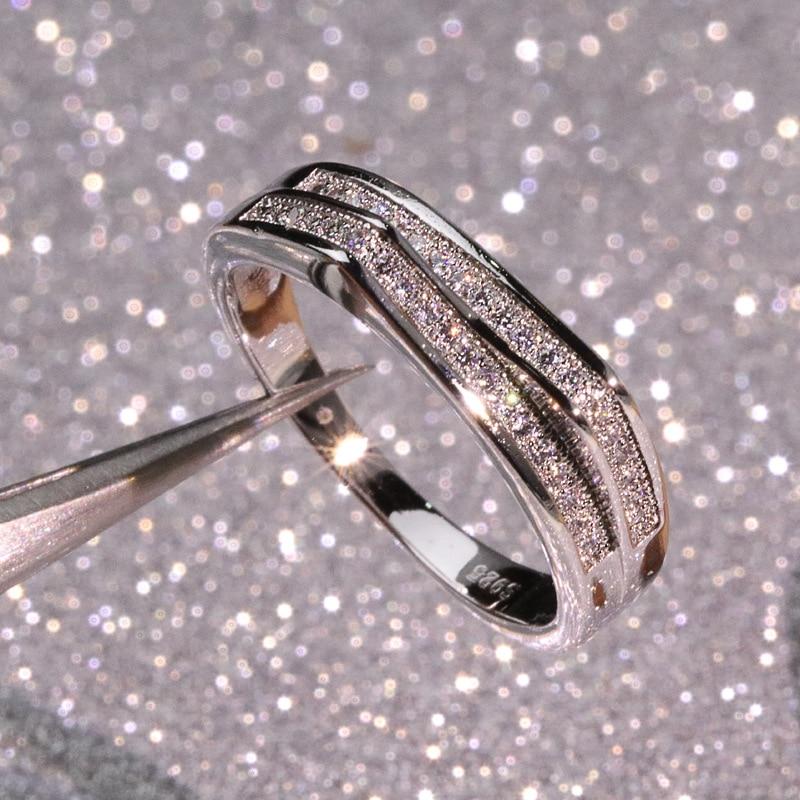 CHM-1 en argent Sterling couleur Double couronne Zircon anneau pour les femmes classique en or blanc bague de mariage