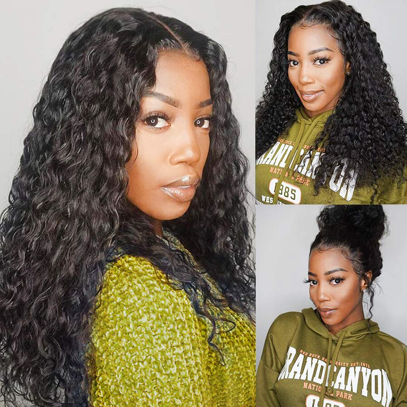 Water Wave Wig Brazilian Virgin Human Hair Wigs 150% Density Full Machine Made Wigs For Black Women Pre Plucked With Baby Hair