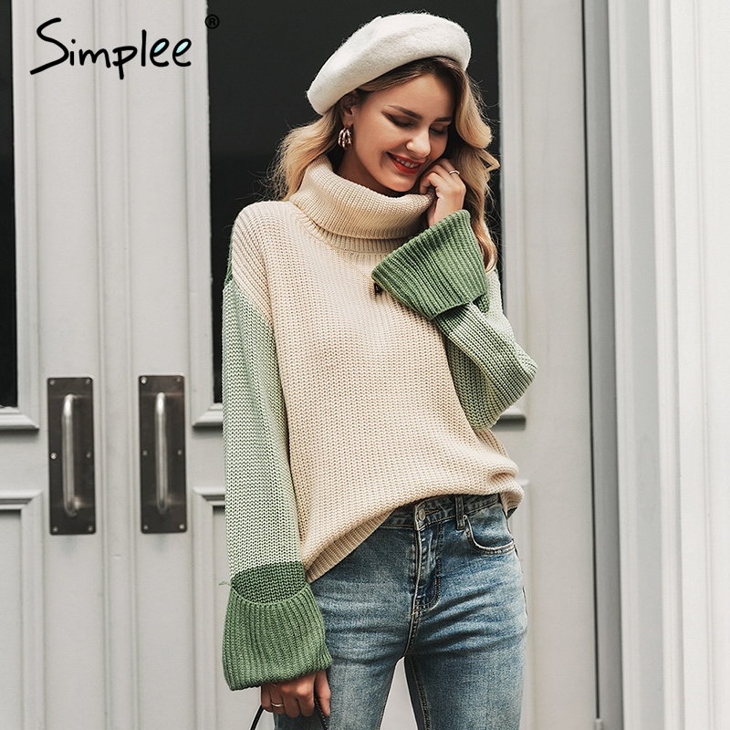 Simplee Turtleneck Women Knitted Pullover Sweater Long Sleeve Female Jumper Autumn Winter Streetwear Oversize Ladies Overalls
